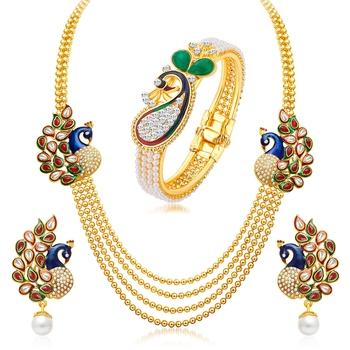 Gold pearl jewellery-combo