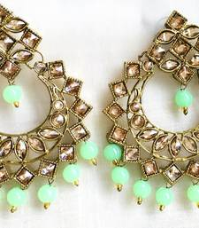 Gold Plated Chand Bali Dangler Sea Green Drops Bollywood Earrings Pair