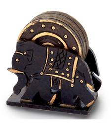 Elephant Design Wooden Tea Coaster Handicraft -110