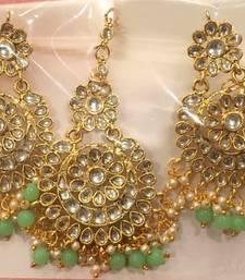 Gold Plated Earrings Tika Kundan Sea Green Drops Bollywood Set