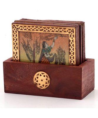 Gemstone Painting Pure Brass Tea Coasters Gift 112