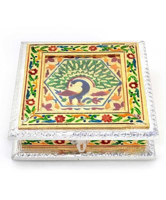 White Metal Pure Meenakari Work Dry Fruit Box -191