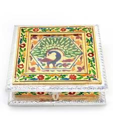 White Metal Pure Meenakari Work Dry Fruit Box -191