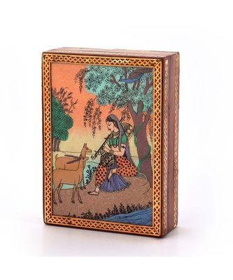 Gemstone Meera Painting Wooden Jewelry Box 256