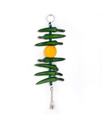 Lemon Green Chilly Wall Hanging in White Metal 285