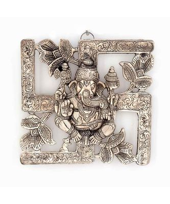 Antique White Metal Swastik Ganesha Hanging 313