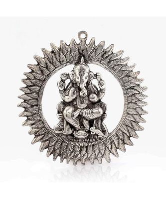 Unique White Metal Chakra Ganesha Idol Hanging 314