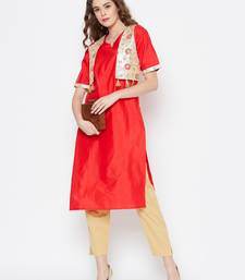 Red printed cotton cotton-kurtis
