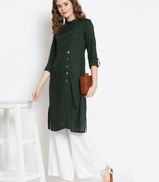Dark-green plain rayon ethnic-kurtis