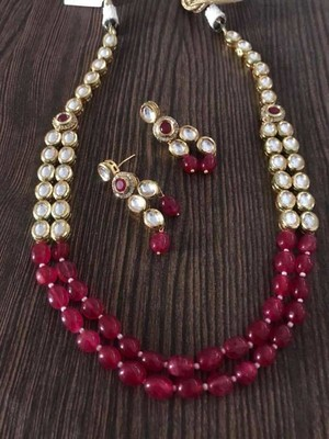 Red Semi Precious Onyx And Kundan Necklace