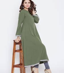 Green plain cotton long-kurtis