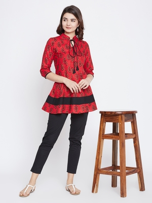 Red printed cotton short-kurtis