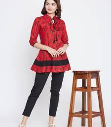 Red printed cotton short-kurtis
