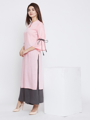 Light-pink plain rayon ethnic-kurtis
