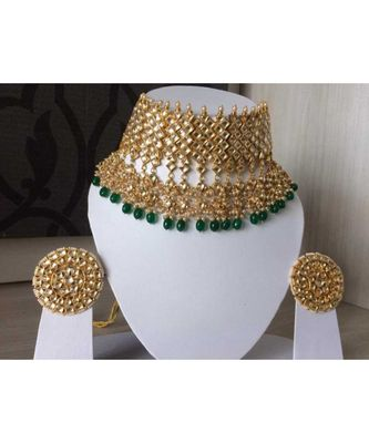 Green Kundan With Shell Pearls And Precious Stone Choker Set