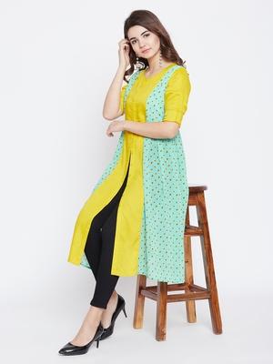 Sea-green printed rayon long-kurtis