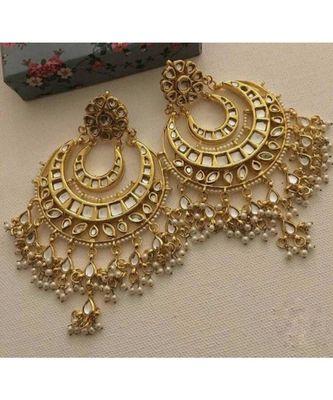 Gold Tone Kundan Inspired Pearl Chandbali
