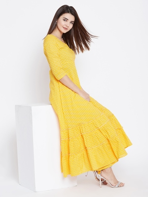 Yellow printed cotton long-kurtis