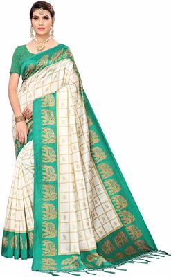 Light green printed cotton silk saree with blouse