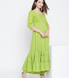 Green printed cotton long-kurtis