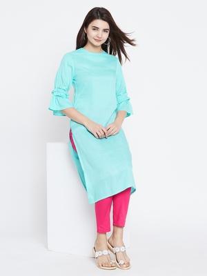 Sky-blue printed rayon kurtas-and-kurtis