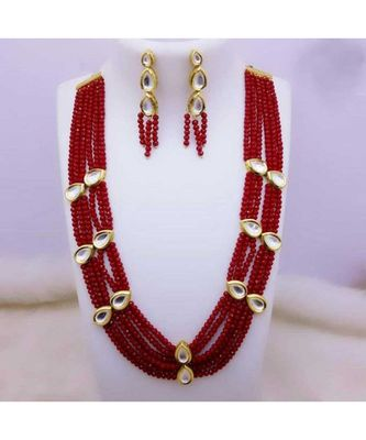 Red Gold Tone Crystal Kundan Inspired Necklace Set