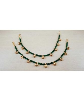 Green Gold Tone Kundan Anklets