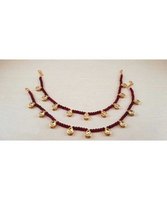 Red Gold Tone Kundan Anklets