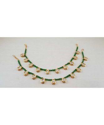 Green Gold Tone Kundan Anklets