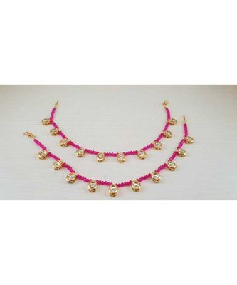 Pink Gold Tone Kundan Anklets