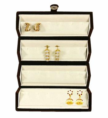 atorakushon® Velvet Combo Jewellery Box Ring Box Earrings Necklace Organiser for Women's 1pcs  (Cream)