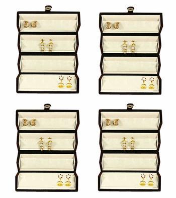 atorakushon® Velvet Combo Jewellery Box EarrRing Box Earrings Necklace Organiser for Women's 4pcs (Cream)
