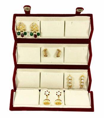 atorakushon® Velvet Combo Jewellery Box Ring Box Earrings Necklace Organiser for Women's 1pcs  (Cream)