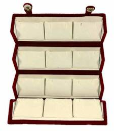 atorakushon® Velvet Combo Jewellery Box Ring Box Earrings Necklace Organiser for Women's 2pcs  (Cream)