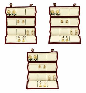 atorakushon® Velvet Combo Jewellery Box Ring Box Earrings Necklace Organiser for Women's 3pcs  (Cream)