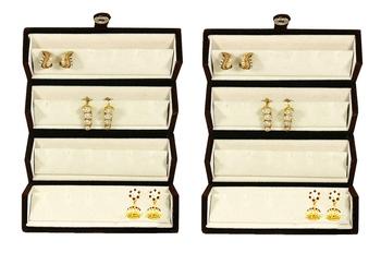 atorakushon® Velvet Combo Jewellery Box Ring Box Earrings Necklace Organiser for Women's 2pcs  (Cream)