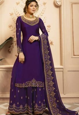 Violet embroidered satin salwar
