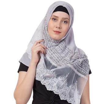 Designer Diamond Work Hijab  Rich Cotton   Grey