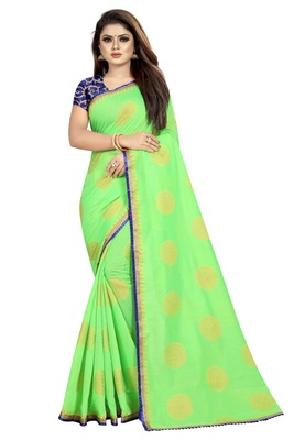 Light parrot green printed silk saree with blouse