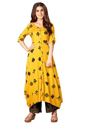 Blissta Mustard Rayon Printed Full Stitched Anarkali Kurti