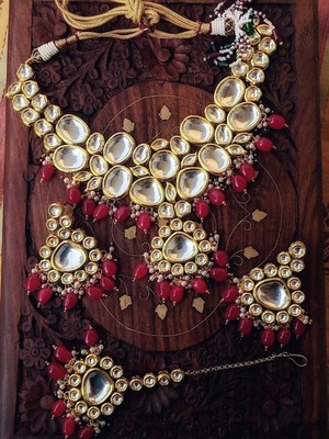 Kundan And Pearls Necklace Set With Red Onyx Gemstones