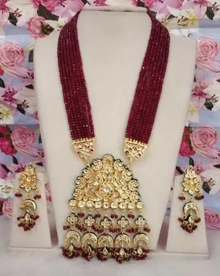 Ruby Red Kundan Semi Precious Onyx Necklace Set