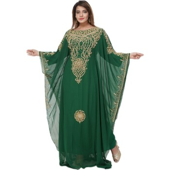 Sea-Green Embroidered Georgette Islamic Kaftans