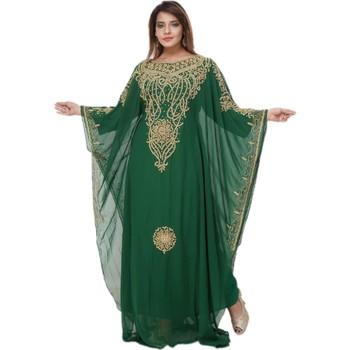 Sea-green embroidered georgette islamic-kaftans