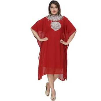 Red Embroidered Georgette Islamic Kaftans
