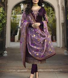 WINE EMBROIDERED GEORGETTE INDIAN-PAKISTANI SALWAR SEMI STITCHED