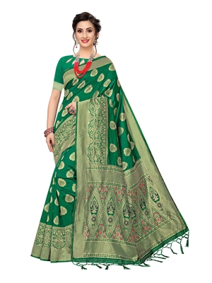 Green Woven Banarasi Sarees With Unstitched Blouse