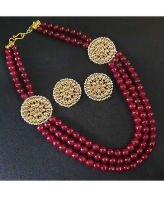 Gold Tone Kundan With Red Onyx Multilayered Necklace Set