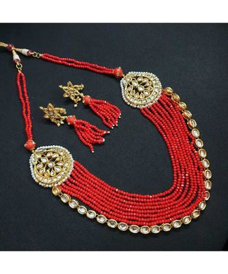 Gold Tone Kundan And Red Beaded Necklace Set