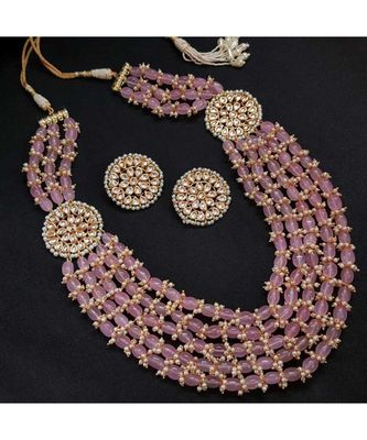 Pink Gold Tone Kundan And Stones Beaded Necklace Set